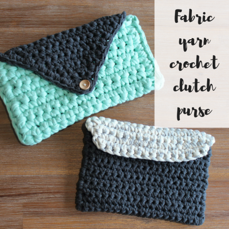 Fabric yarn crochet clutch
