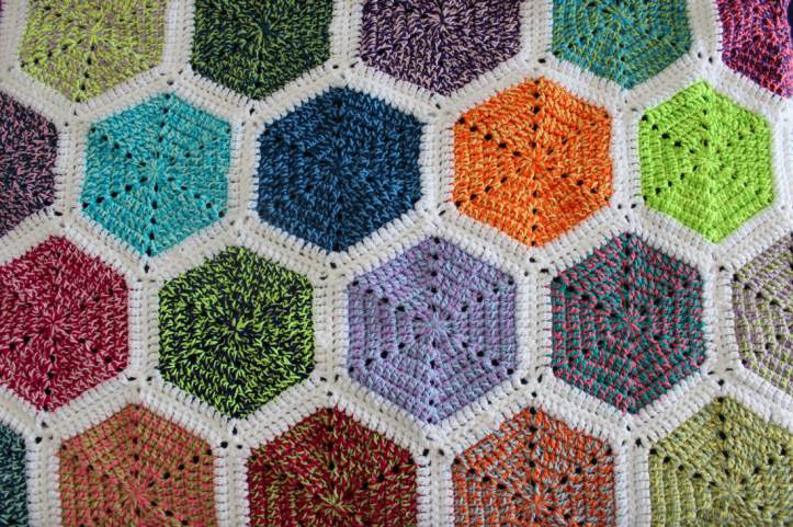 Rainbow Ends Hexagon Crochet Blanket Pattern by Kate Made It